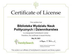 Biblioteka WNPiD afiliowana przy FamilySearch