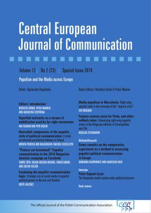 Specjalny numer Central European Journal of Communication z artykułami naukowców WNPiD