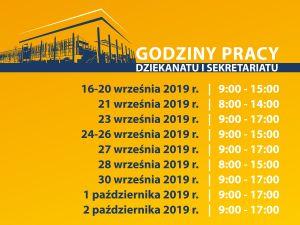Godziny pracy dziekanatu i sekretariatu w dniach 16 września - 2 października
