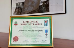 Otrzymaliśmy Kombatancki Certyfikat Pamięci